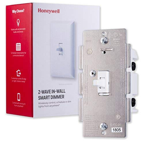 Honeywell Z-Wave Plus Smart Light Dimmer Switch, In-Wall Toggle |Built-In Repeater Range Extender | Requires Neutral Wire | ZWave Hub Required - SmartThings, Wink, Alexa Compatible, 39357