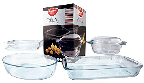 "Euro-Ware Marinex ""Celebrity Collection"" 5 Piece Glass Oval Baking/Serving Dish Set, Clear"