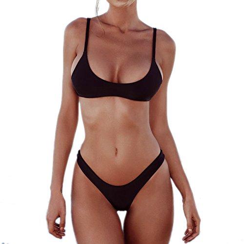 ef195eba6a Minimalism Le Women s Brazilian Bikini Set Solid Swimsuit Swimwear ...