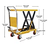 "APOLLOLIFT Single Scissor Hydraulic Lift Table/Cart 1100lbs Capacity 35.4"" Lifting Height"