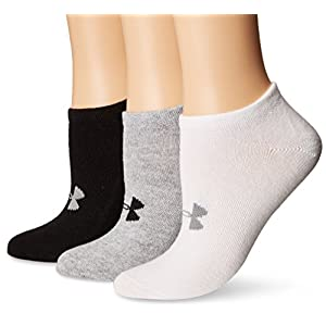 Under Armour Women's Essential Charged Cotton No Show Liner Socks (6 Pack), True Gray Heather/Assorted, Medium