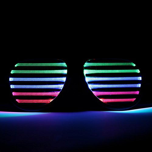 GkGk Music Active LED Flash Glasses & Musical Shades Sound Flashing LED Club Glass for Party Live House/Vocal Concert/Bar /DJ/Disco/Club LED flash with the Music Rhythm for Music Festival Park