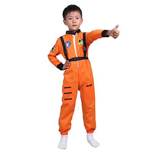 ACSUSS Children Boys Girls NASA Astronaut Costume Firefighter Spaceman Suit Long Sleeves Jumpsuit with Straps White 8-10 ()