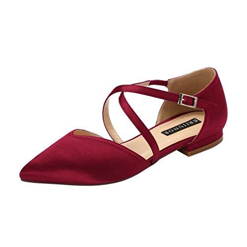 (ERIJUNOR E0012 Pointy Toe Flats D-Orsay Low Heel Pumps Satin Wedding Evening Prom Dress Shoes Burgundy Size 10)