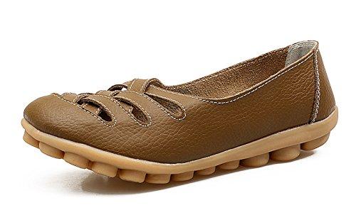 VenusCelia Women's Comfort Walking Casual Flat Loafer(8 M US,Khaki)