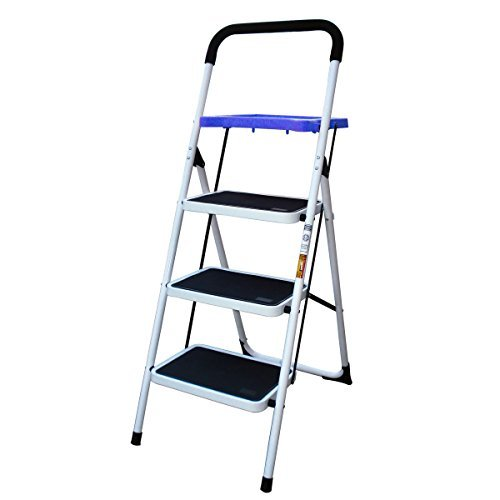 AmeriHome 3-Step Steel Step Ladder with 300 lb. Load Capacity by AmeriHome