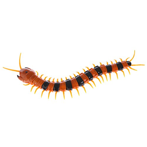 Seaskyer Remote Control Animal Centipede Creepy-crawly Prank Funny Toys Gift For Kids (Black + - Toy Centipede