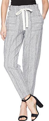 Vince Linen Drawstring (Two by Vince Camuto Women's Slim Leg Pull-on Drawstring Stripe Pants Rich Black X-Small 27)
