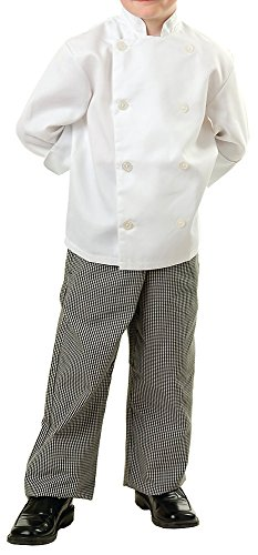 Chef Coat Jacket Uniform (KNG Child White Classic Long Sleeve Chef Coat - Child Medium)