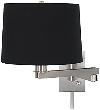 possini euro black fabric drum swing arm with cord cover. Black Bedroom Furniture Sets. Home Design Ideas
