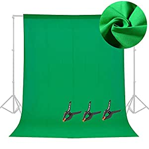 Abeststudio Professional Photo Studio Green Backdrop 6 x 9FT / 1.8 x 2.8M 100% Pure Muslin Cotton Collapsible Screen Green Chromakey Background Backdrop for Photography Video and Television Shooting (NOT Included Stand)