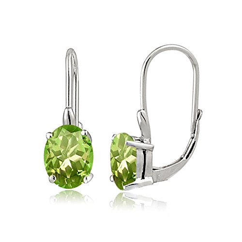 Sterling Silver Peridot Oval Leverback Earrings