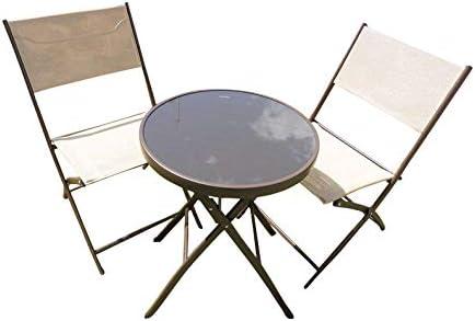 Marron 3 pièces en métal terrasse Salon de Jardin pour 2 chaises ...