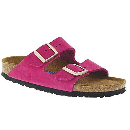 Birkenstock Women's Arizona Soft Footbed Sandal Shocking Pink Nubuck Size 40 N (Nubuck Mens Sandals)