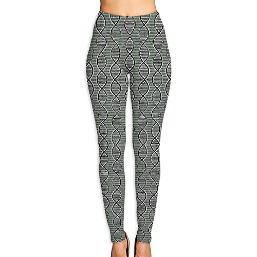 SHUAJAH Women High Waist Yoga Pants Tights Leggings with Double Helix DNA Pattern