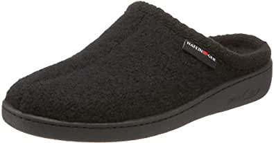 Haflinger Unisex AT Boiled Wool Hard Sole Slipper, Black, 36 EU/5 M US Women