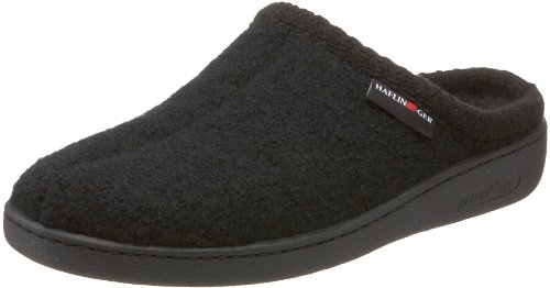 Haflinger Unisex AT Boiled Wool Hard Sole Slipper, Black, 40 EU/ 9 M US Women's/7 D US Men