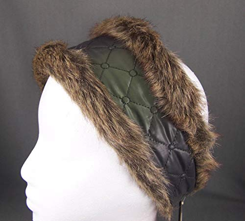Fur Hat Quilted (Dk Grey Green faux fur lined quilted ear warmer muffs head wrap hat cover ski)