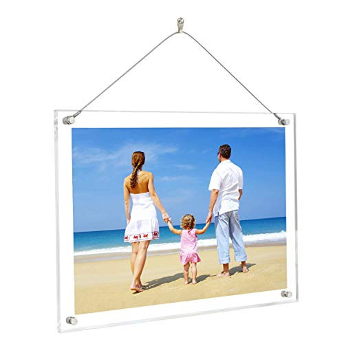NIUBEE 8.5x11 8x10 Acrylic Picture Frame,Clear Plexiglass Frame Hanger for Photo Poster Certificate Sign Artwork Art Print Wall Hanging-A4 Letter Size