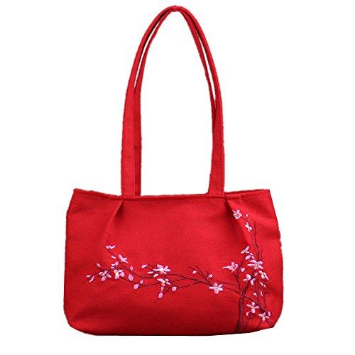 Canvas Stickerei Rucksack Handtaschen (Weiß) Rot mXSol