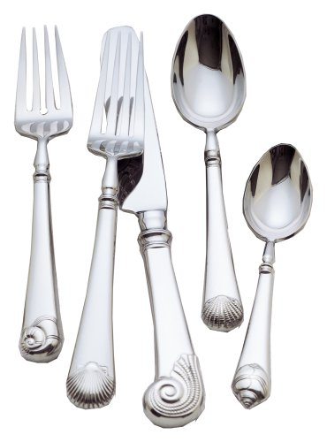 Colonial Williamsburg Gloucester Shell Stainless Steel Flatware 5 Piece Place (Barton Colonial Shell)
