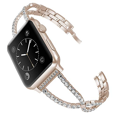 - hooroor Bling X Bracelet Band Compatible Apple Watch Band 38mm 40mm Women Iwatch Series 4, Series 3, Series 2 1 Rhinestone Metal Cuff Bangle Wristband Sport Strap (Champagne Gold, 38mm/40mm)