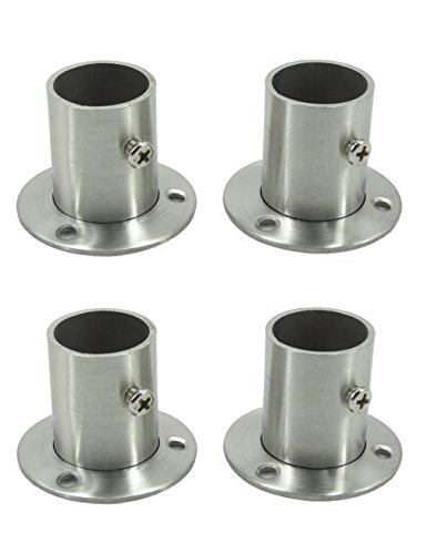 Stainless Steel Closet Wardrobe Rod Holder Socket End Support Bracket Flange for 25mm (Set of 4)
