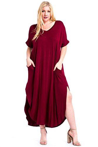 12 Ami Plus Size Solid V-Neck Pocket Short Sleeve Loose Maxi Dress - Made in USA