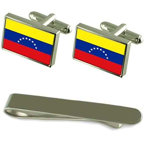 Venezuela Flag Silver Cufflinks Tie Clip Engraved Gift Set by Select Gifts