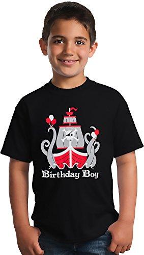 Birthday Boy Pirate | Cute B-day Boy Pirate Ship & Kraken Party Youth T-shirt
