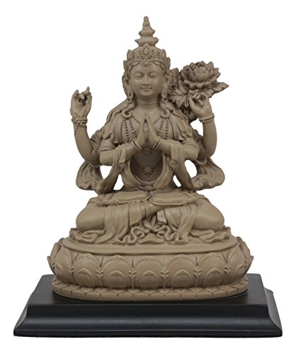 - Ebros Avalokiteshvara Kuan Yin Seated On Lotus Throne Statue In Faux Ivory Finish 7