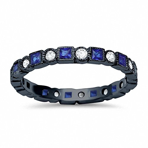 2.5mm Bezel Set Full Eternity Ring Alternating Simulated Round Blue Sapphire Black Tone 925 Sterling Silver,Size-7 ()