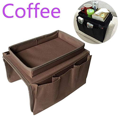 Blue_Bight Pro Couch Buddy Remote Control Holder Storage Organizer Sofa Arm Rest Caddy with Pockets Coffee Color