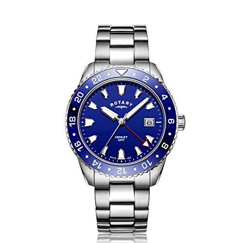 Rotary Men's Watch GMT Henley Blue Dial Stainless Steel Bracelet 42mm Watch GB05108/05