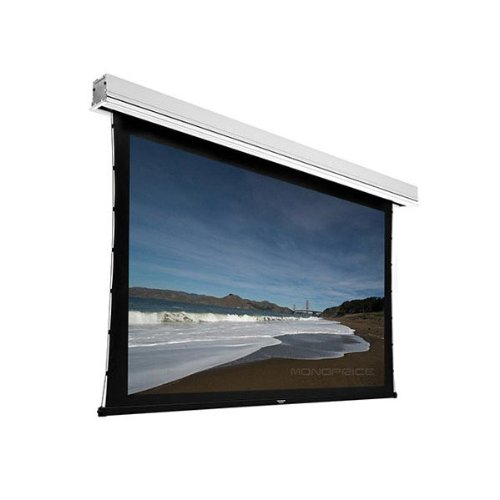 Monoprice Ceiling Recessed Tab-Tensioned Motorized Projection Screen (Somfy Motor) w/ IR Remote - HD White Fabric (120 inch, 16:9)