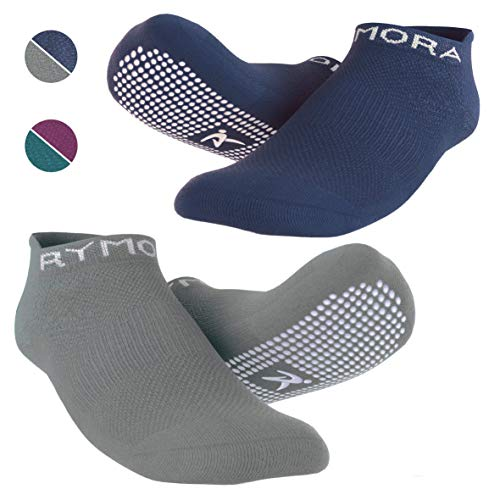 Rymora Grip Socks for Women & Men - Sticky Anti Slip Non Skid - Perfect for Yoga, Pilates, Barre, Hospital, Labor Delivery, Trampoline (2 Pairs: Navy & Grey) (Small: US Men: 4-7.5 / US Women: 5-8.5)