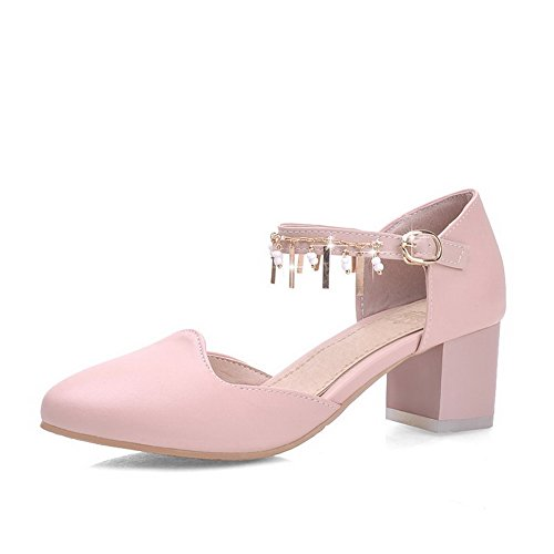 AllhqFashion Womens Pointed Closed Toe Kitten Heels Buckle Solid Pumps Shoes Pink RnuUNIre