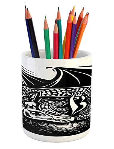 Ambesonne Dragon Pencil Pen Holder, Shadded Skin Dragon Curled up Under Long Wings Digital Sketch Illustration, Printed Ceramic Pencil Pen Holder for Desk Office Accessory, Black and White