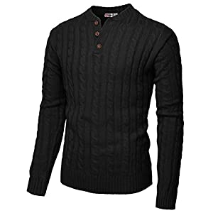 H2H Mens Casual Slim Fit Pullover Sweaters Knitted Henley Long Sleeve Thermal