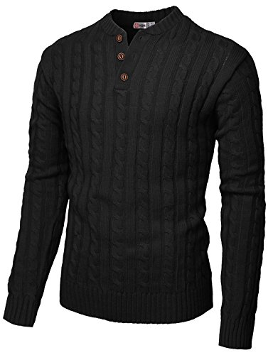 - H2H Mens Slim Fit Henley Neck Knitted Pullover Sweater Black US M/Asia L (CMOSWL029)