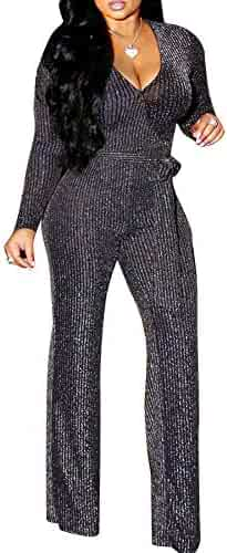 ee79ecf8d95 ECHOINE Womens Sexy Bodycon Glitter Jumpsuit - Sparkly See Through  Drawstring One Piece Romper Playsuit Clubwear