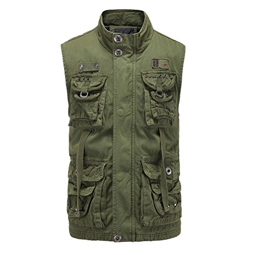 Mens Quality Hiking Stand High Casual Zhhlinyuan Vest padre Mountain Tops Light Green Multipocket Waistcoat regalo Collar qxwCnCAtU1