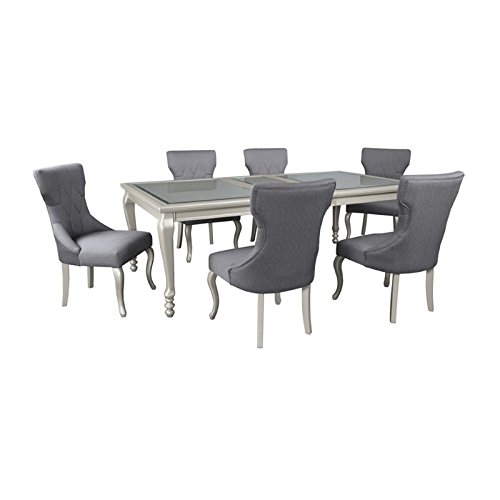 Ashley Coralayne 7 Piece Dining Set in Silver