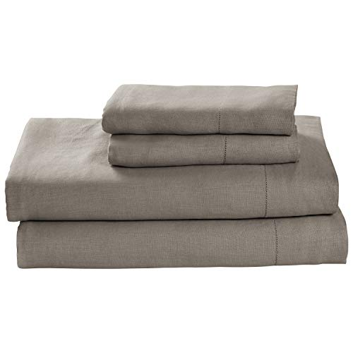 Stone & Beam Belgian Flax Linen Sheet Set, Breathable and Durable, California King, Smoke