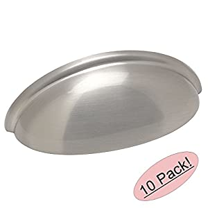 """Cosmas 783SN Satin Nickel Cabinet Hardware Bin Cup Drawer Handle Pull - 3"""" Inch (76mm) Hole Centers - 10 Pack"""