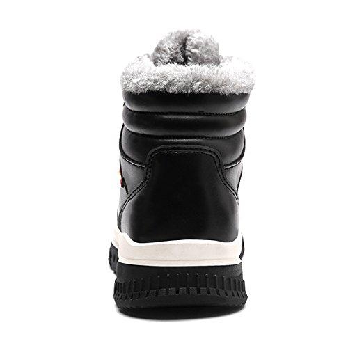 Coface Mens Utomhus Vinter Snö Stövlar Med Varmt Pälsfodrad Läder Halkskydd Fotled Tossor 766-svart