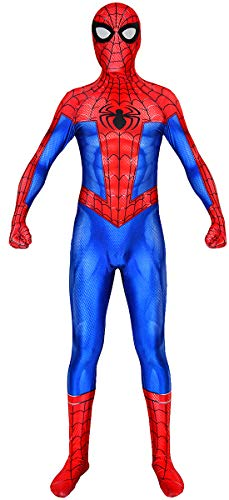 Into The Spider-Verse Peter Parker Spiderman Costume Kids ISV Spider-Man Suit Fullbody Halloween Costume (Kids-L) Red and Blue -