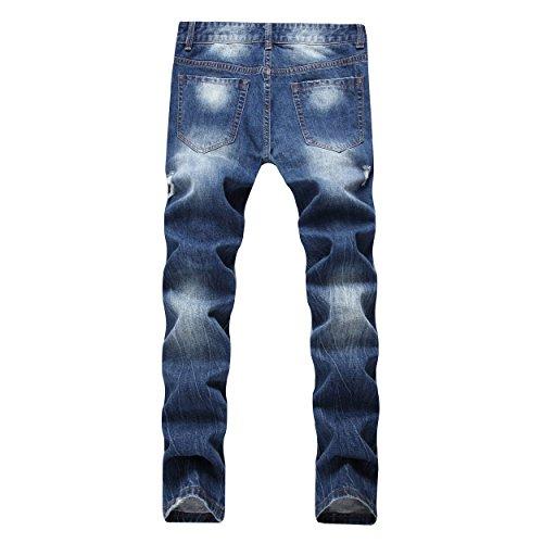 DAVID.ANN Men's Straight Fit Distressed Ripped Denim Jeans,Blue,32 by DAVID.ANN (Image #1)