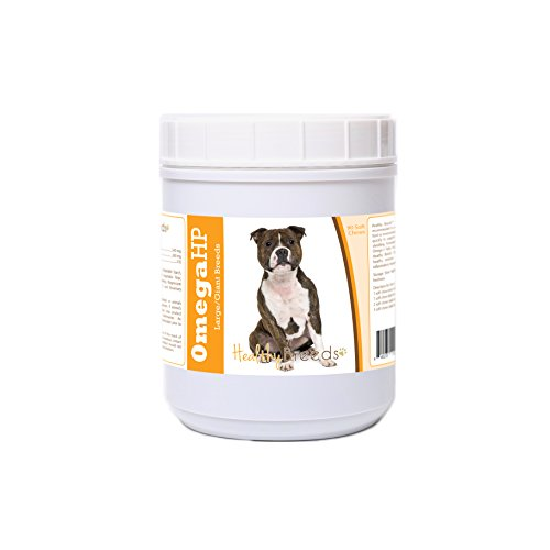 Healthy Breeds Dog Skin and Coat Supplement Omega 3 for Staffordshire Bull Terrier - OVER 100 BREEDS - EPA & DHA Fatty Acids - Medium & Large Breed Formula - 90 Count