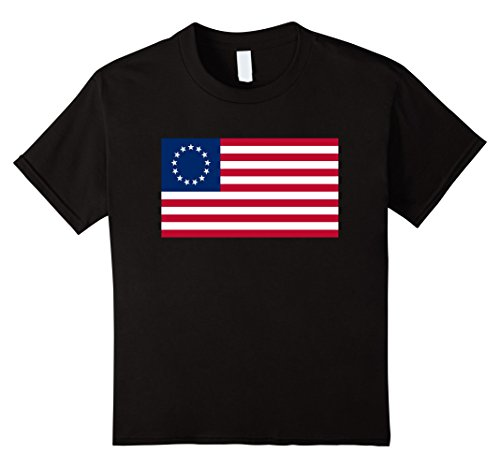 unisex-child Betsy Ross Old Glory American USA Flag T-Shirt 6 Black Betsy Ross Flag Girls